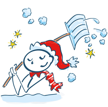 Stick figure as Santa Claus shoveling in the snow Illustration