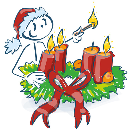 Santa Claus starts a christmas wreath and candlelight
