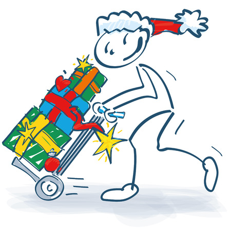 Stick figure santa claus with sack truck and presents
