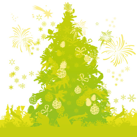 Christmas tree with animals Illustration