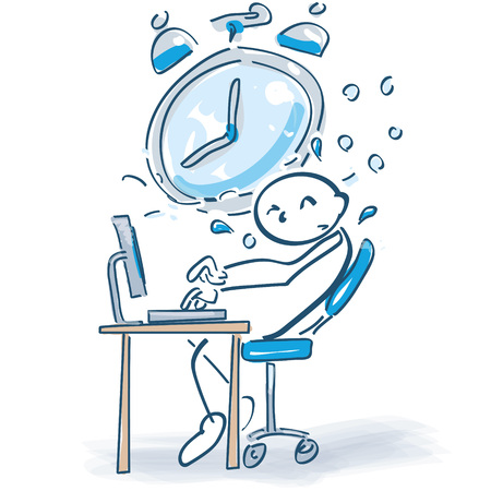 Stick figure at a computer and time pressure Illustration
