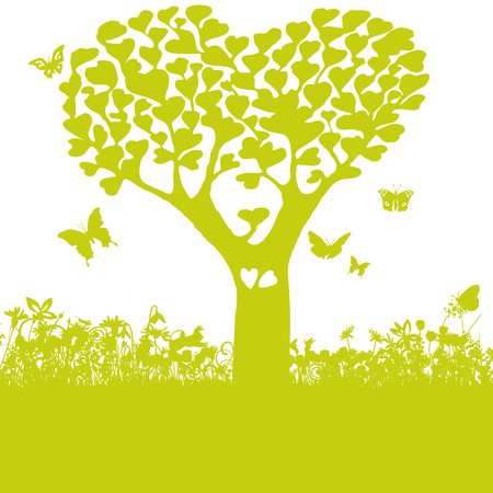 Tree with leaves of hearts and love Illustration
