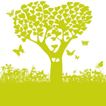 Árvore com folhas de corações e amor
