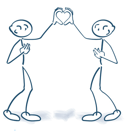 Stick figures building together a form of a heart with their hands Illustration