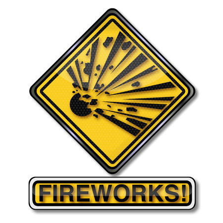 Danger sign attention explosive fireworks and new years eve celebration