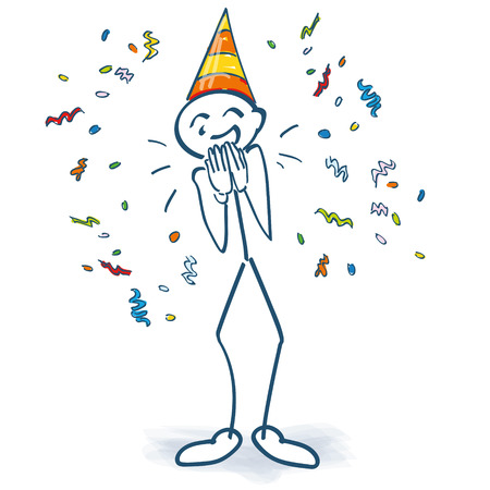 Stick figure with birthday hat and confetti Illustration