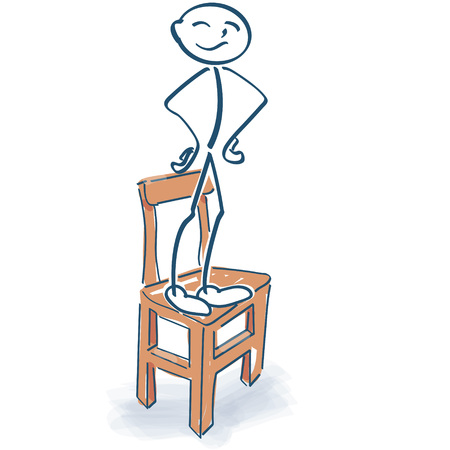 Stick figure stands proudly on the chair