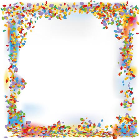 Confetti forms a frame Vector illustration.