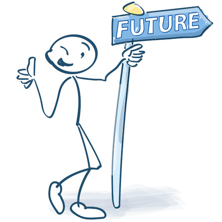 Stick figures with information sign and future. Illustration