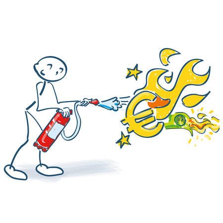 Stick figure with fire extinguisher and burning euro.