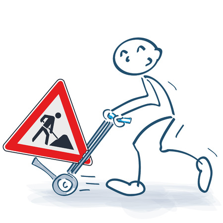Stick figure with sack truck and move with construction sign. Illustration