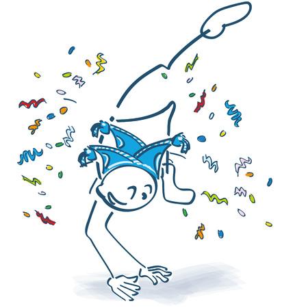 Stick figure makes a leap confetti for carnival