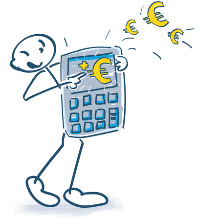 Strichmännchen mit Taschenrechner und Euro