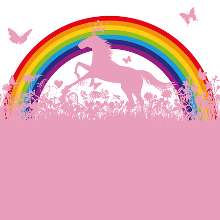 Unicorn in front of a rainbow