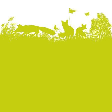 Three foxes in the meadow in silhoutte illustration.