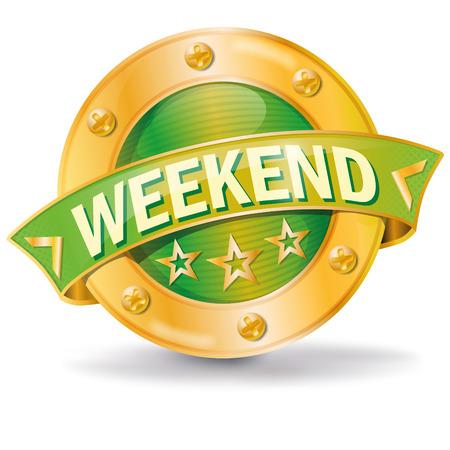A Button weekend isolated on plain background. Illusztráció