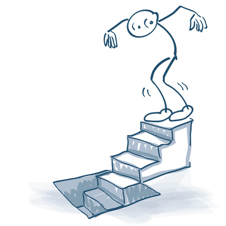 Stick figure goes down a staircase to the basement