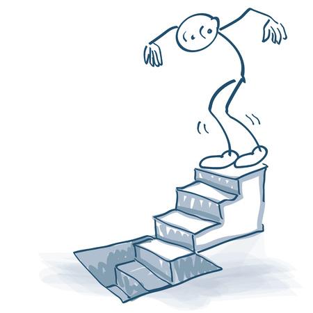 Strichmännchen geht hinunter eine Treppe zum Keller