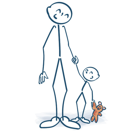 Stick figure  father with child Vector illustration. Illustration