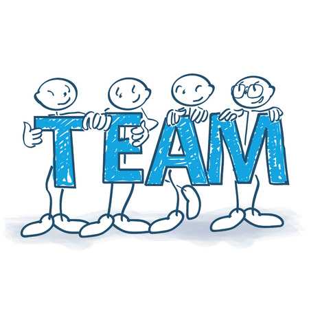 Stick figures with letters as a team vector Illustration
