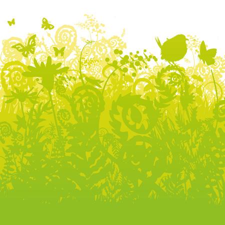 Ferns and birds in the garden vector Ilustração