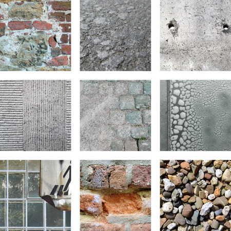 Nine pictures of old stones and weathered walls