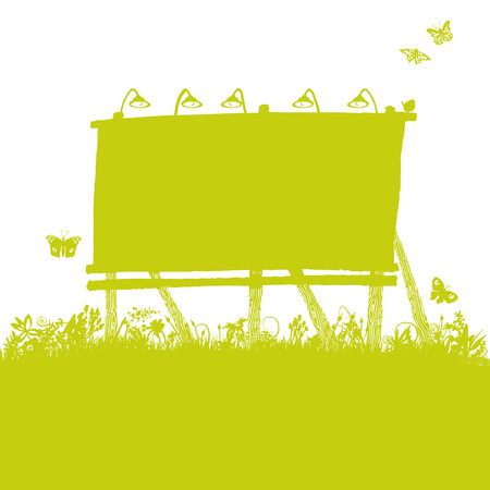 Old billboard in the nature Vector illustration