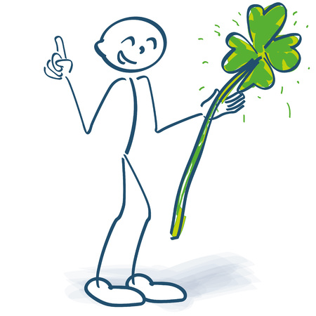 Stick figure with green shamrock and finger pointer Illustration