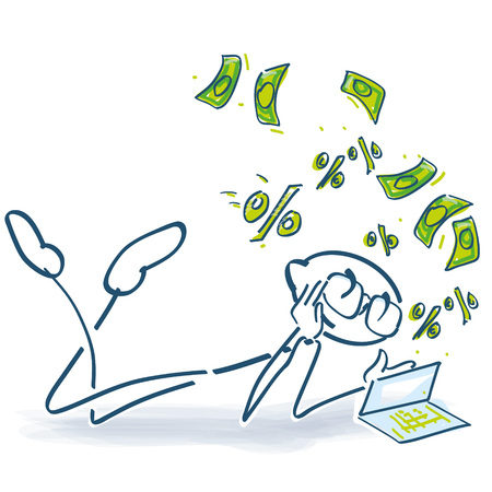 Stick figure reads a financial book Vector illustration. Stock Illustratie
