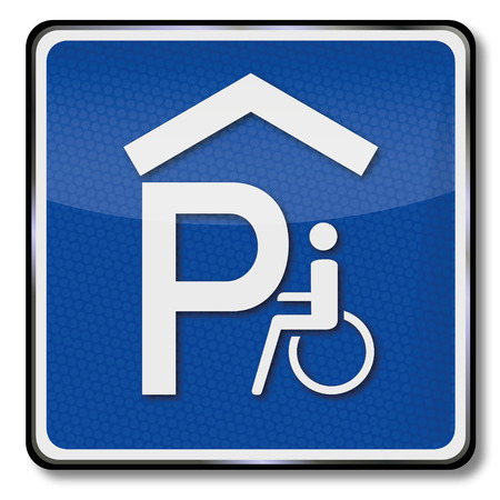 Road sign parking garage for wheelchair users