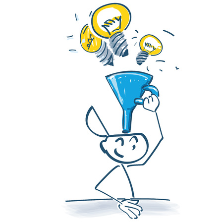 Stick figure with funnels ideas into he head with a funnel
