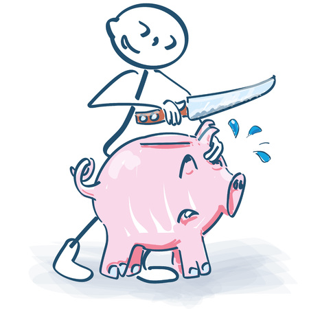 Stick figure slaughters a piggy bank with a knife