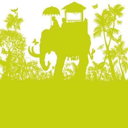 Elephant in the green jungle Vector illustration. Illusztráció