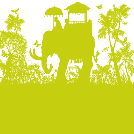 Elephant in the green jungle Vector illustration. Illustration