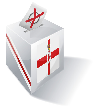 Ballot box of Northern Ireland and vote Vector illustration.