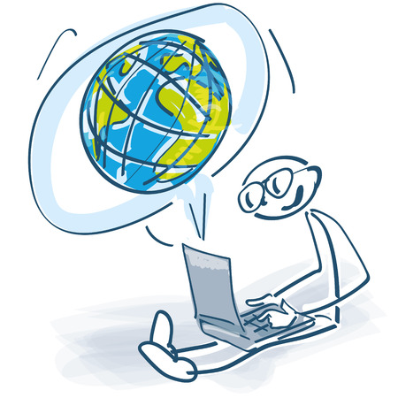 Stick figures with laptop and globe Vector illustration.