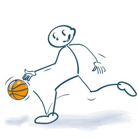 Stick figure is playing with a basketball Illustration