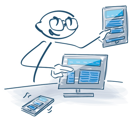 Stick figure shows various layout options on the computer Illustration