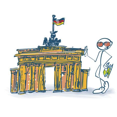Stick figure as a tourist with Brandenburg Gate in Berlin