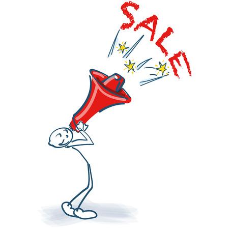 Stick figure with megaphone and sale design