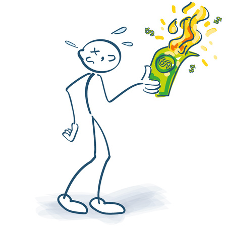 Stick figure burns down a dollar note