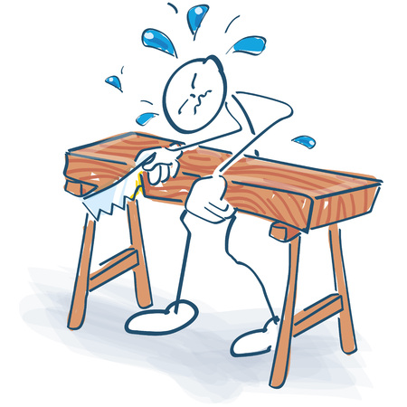 Stick figure as a craftsman sawing a bed too thick Illustration