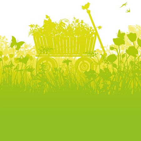 Handcart in high dense grass Stock Illustratie
