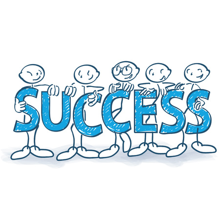 Stick figures with letters and success