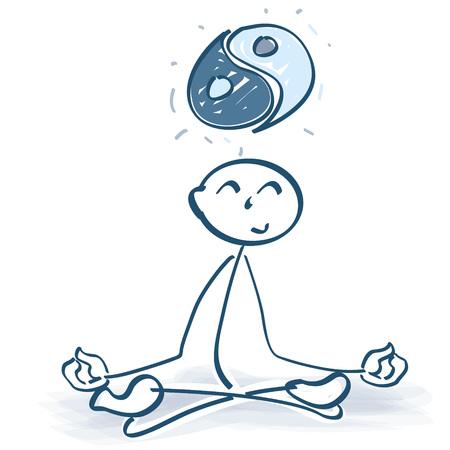 figura de punto cruzado con el yin y yang yang ilustración vectorial . Ilustración de vector