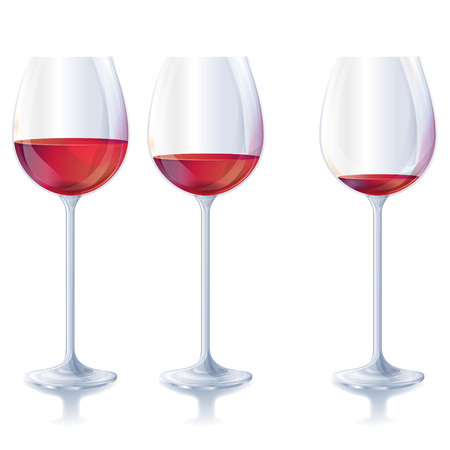 Three red wine glasses Vector illustration. Vectores