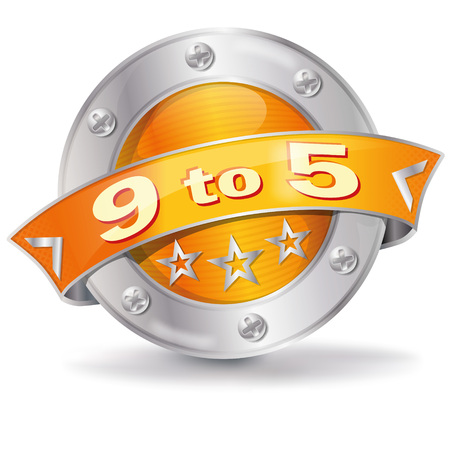 Button with 9 to 5 office time Stock Illustratie