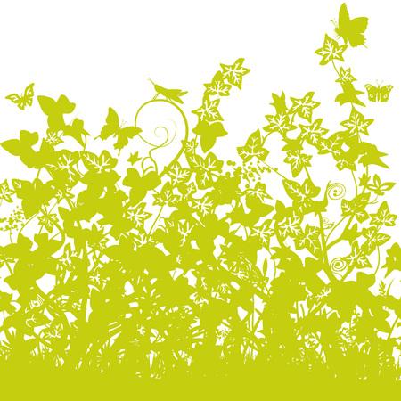 Blades of grass with dense ivy Векторная Иллюстрация