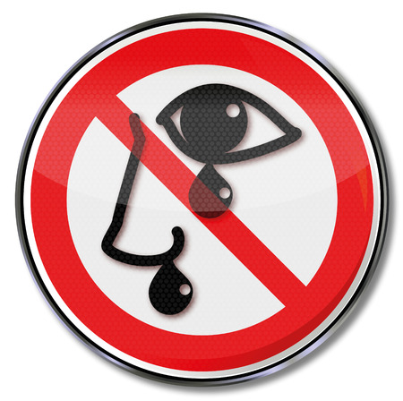 Prohibition sign for watering eyes and dripping nose