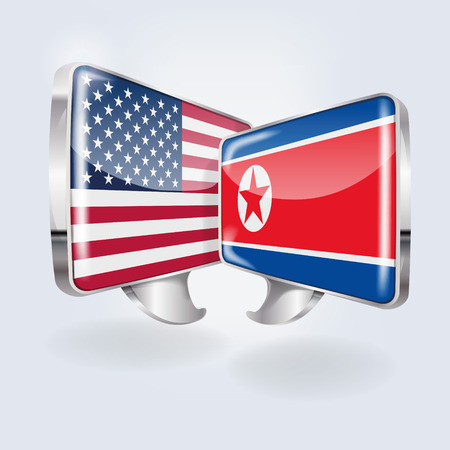 Speech bubbles with USA and North Korea
